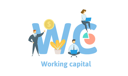 WC, Working Capital. Concept with keywords, letters and icons. Colored flat vector illustration. Isolated on white background.