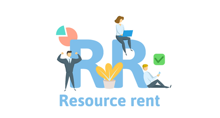 RR, Resource Rent. Concept with keywords, letters and icons. Colored flat vector illustration. Isolated on white background.