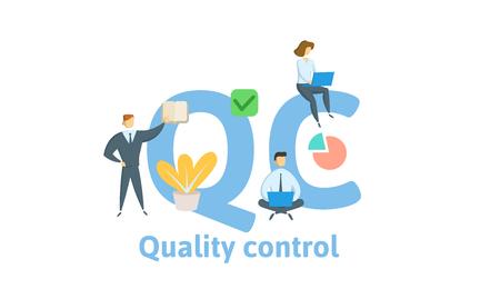 QC, contrôle de la qualité. Concept avec des mots-clés, des lettres et des icônes. Illustration vectorielle plane colorée. Isolé sur fond blanc. Vecteurs