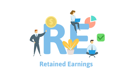 RE, Retained Earnings. Concept with keywords, letters and icons. Colored flat vector illustration. Isolated on white background. Ilustração