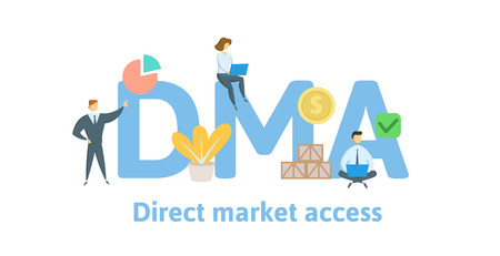 DMA, Direct Market Access. Concept with keywords, letters and icons.