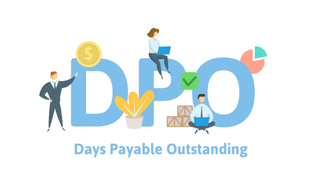 DPO, Days Payable Outstanding. Concept with keywords, letters and icons. Colored flat vector illustration. Isolated on white background.