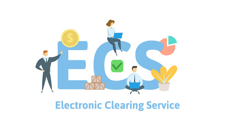 ECS, Electronic Clearing Service. Concept with keywords, letters and icons. Illusztráció