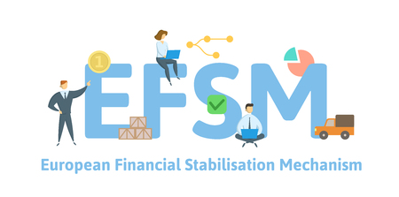 EFSM, European Financial Stabilisation Mechanism. Concept with keywords, letters and icons. Colored flat vector illustration. Isolated on white background.