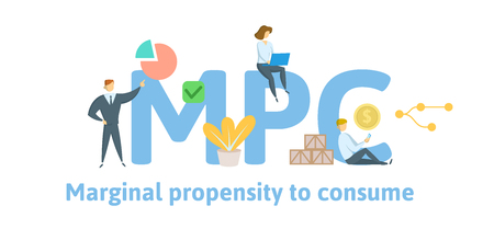 MPC, Marginal Propensity to Consume. Concept with keywords, letters and icons. Colored flat vector illustration. Isolated on white background. Illustration