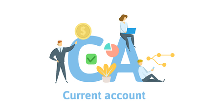 CA, Current Account. Concept with keywords, letters and icons. Colored flat vector illustration. Isolated on white background.