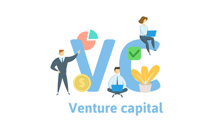 VC, Venture Capital. Concept with keywords, letters and icons. Colored flat vector illustration. Isolated on white background. Illustration