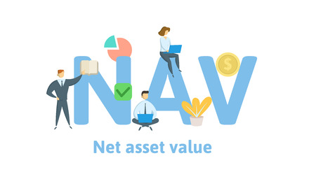 NAV, Net asset value. Concept with keywords, letters and icons. Colored flat vector illustration. Isolated on white background. Illustration