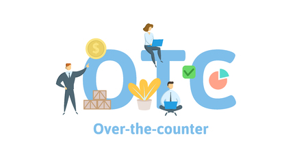 OTC, Over The Counter. Concept with keywords, letters and icons. Colored flat vector illustration. Isolated on white background. Illustration