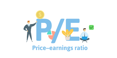 PE, Price to Earnings ratio. Concept with keywords, letters and icons. Colored flat vector illustration. Isolated on white background.