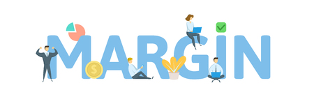 MARGIN word concept banner. Concept with people, letters and, icons. Colored flat vector illustration. Isolated on white background.