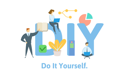 DIY, Do It Yourself. Concept with keywords, letters, and icons. Colored flat vector illustration. Isolated on white background. Stock Illustratie