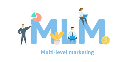 MLM, Multi Level Marketing. Concept with keywords, letters, and icons. Colored flat vector illustration. Isolated on white background. Ilustração