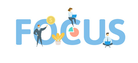 FOCUS word concept banner. Concept with people, letters, and icons. Colored flat vector illustration. Isolated on white background. Illusztráció