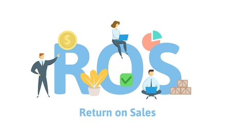 ROS, Return on Sales. Concept with keywords, letters and icons. Colored flat vector illustration. Isolated on white background.