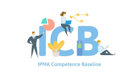ICB, IPMA Competence Baseline. Concept with keywords, letters and icons. Colored flat vector illustration. Isolated on white background.