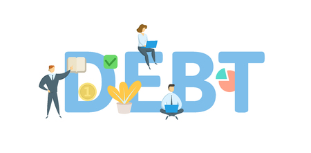 DEBT word concept banner. Concept with people, letters, and icons. Colored flat vector illustration. Isolated on white background. 矢量图像