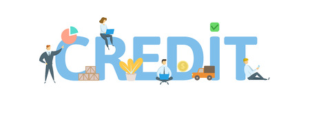 CREDIT word concept banner. Concept with people, letters, and icons. Colored flat vector illustration. Isolated on white background.