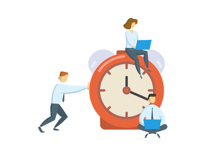 Managers around big alarm clock. Business, office time concept. Colored flat vector illustration. Isolated on white background. Illustration
