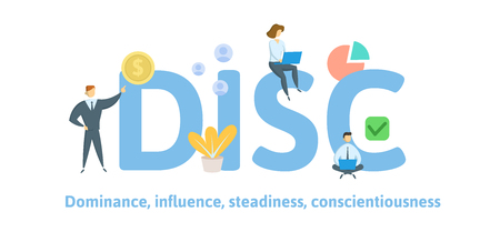 DISC, Dominance, Influence, Steadiness, Conscientiousness. Concept with keywords, letters, and icons. Colored flat vector illustration Isolated on white background Illustration