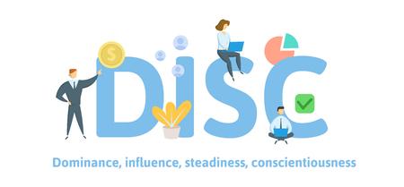 DISCO, Dominio, Influenza, Costanza, Coscienziosità. Concetto con parole chiave, lettere e icone. Illustrazione vettoriale piatta colorata isolata su sfondo bianco Vettoriali