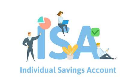 ISA, Individual Saving Account. Concept with keywords, letters and icons. Colored flat vector illustration. Isolated on white background.