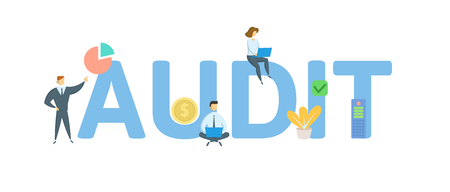 AUDIT. Concept with people, letters and icons. Colored flat vector illustration. Isolated on white background. Illustration