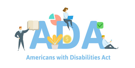 ADA, Americans with Disabilities Act. Concept with keywords, letters and icons. Colored flat vector illustration. Isolated on white background.