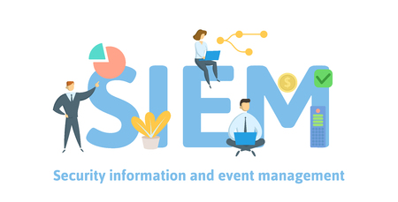 SIEM, Security information and event management. Concept with keywords, letters and icons. Colored flat vector illustration. Isolated on white background.