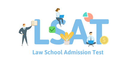LSAT, Law School Admission Test. Concept with keywords, letters and icons. Colored flat vector illustration. Isolated on white background. Ilustración de vector