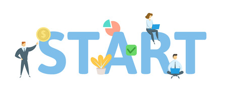START. Concept with people, letters and icons. Colored flat vector illustration. Isolated on white background. Ilustração