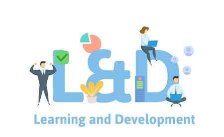 L y D, Aprendizaje y Desarrollo. Concepto con palabras clave, letras e iconos. Ilustración de vector plano coloreado. Aislado sobre fondo blanco.