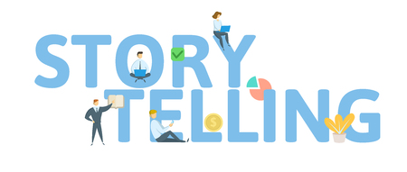 STORYTELLING. Concept with people, letters and icons.