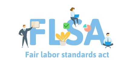 FLSA, Legge sugli standard di lavoro equo. Concetto con parole chiave, lettere e icone. Illustrazione vettoriale piatto colorato. Isolato su sfondo bianco. Vettoriali
