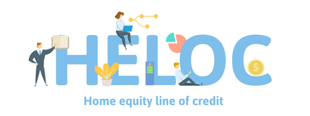 HELOC, Home Equity Line of Credit. Concept with keywords, letters and icons. Colored flat vector illustration. Isolated on white background. Çizim