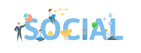 SOCIAL. Concept with people, letters and icons. Colored flat vector illustration. Isolated on white background.
