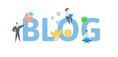 BLOG. Concept with people, letters and icons. Colored flat vector illustration. Isolated on white background.