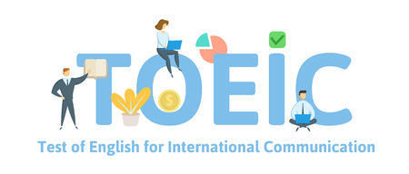 TOEIC, English for International Communication. Concept with keywords, letters and icons. Colored flat vector illustration. Isolated on white background. Illustration