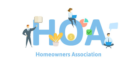 HOA, Homeowner Association. Concept with keywords, letters and icons. Colored flat vector illustration. Isolated on white background.