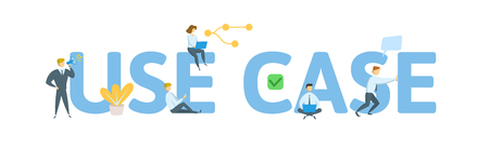 USE CASE. Concept with people, letters and icons. Colored flat vector illustration. Isolated on white background.