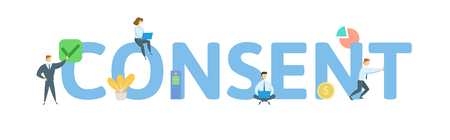 CONSENT. Concept with people, letters and icons.