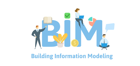 BIM, Building Information Modeling. Concept with keywords, letters and icons.