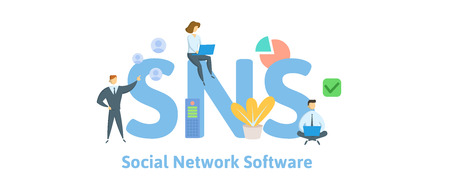 SNS, Social Network Service. Concept with keywords, letters and icons.