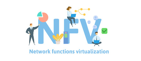 NFV, Network Functions Virtualization. Concept with keywords, letters and icons.