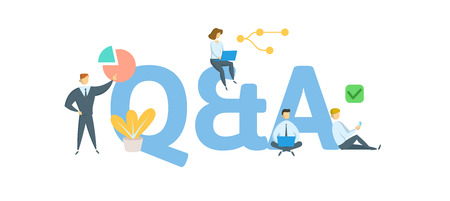 Q and A, questions and answers. Concept with people, letters and icons.