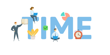 TIME. Concept with people, letters and icons.