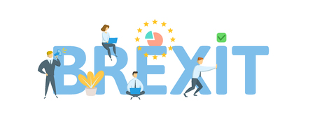 BREXIT. Concept with people, letters and icons. Иллюстрация