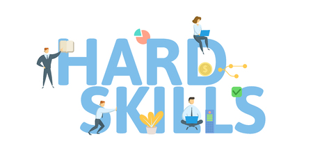 HARD SKILLS. Concept with people, letters and icons