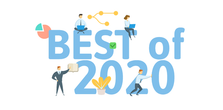 Best of 2020. Concept with people, letters and icons. Colored flat vector illustration. Isolated on white background.