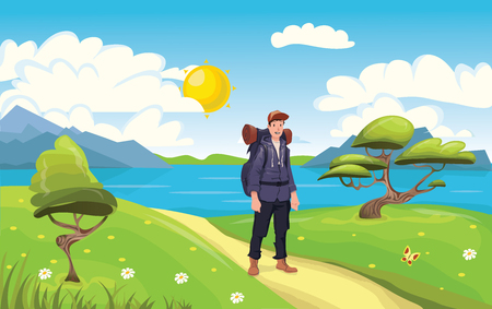 A young happy man, backpacker on the seaside. Hiker and Explorer. Vector Illustration. Иллюстрация